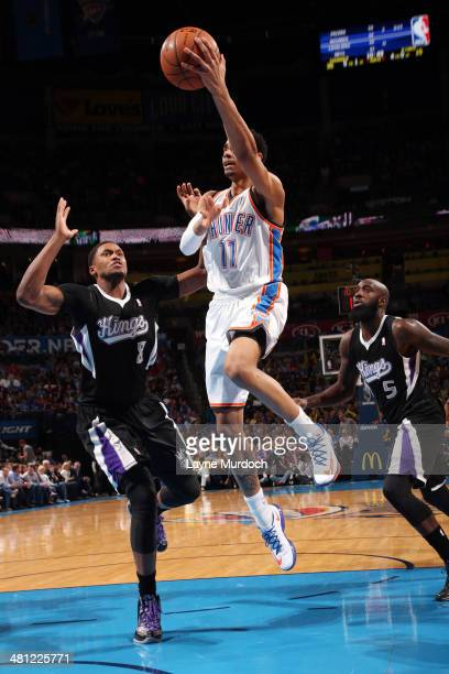 Jeremy Lamb of the Oklahoma City Thunder shoots against the Sacramento Kings on March 28 2014 at the Chesapeake Energy Arena in Oklahoma City...