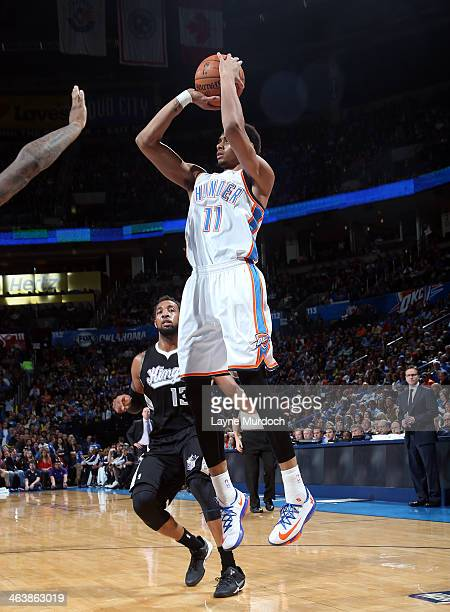 Jeremy Lamb of the Oklahoma City Thunder shoots during an NBA game on January 19 2014 at the Chesapeake Energy Arena in Oklahoma City Oklahoma NOTE...