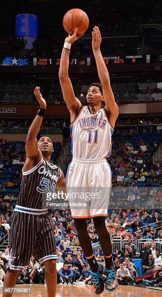 Jeremy Lamb of the Oklahoma City Thunder shoots the ball against the Orlando Magic during the game on February 7 2014 at Amway Center in Orlando...