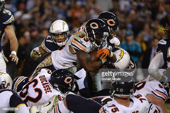 Jeremy Langford of the Chicago Bears scores a touchdown against the San Diego Chargers at Qualcomm Stadium on November 9 2015 in San Diego California