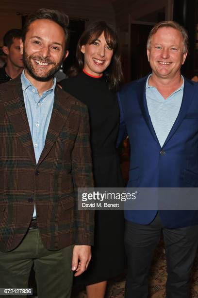 Jeremy Langmead Samantha Cameron and Nick Jones attend the NetaPorter Mr Porter preopening dinner cohosted by Jenny Dickinson and Jeremy Langmead in...