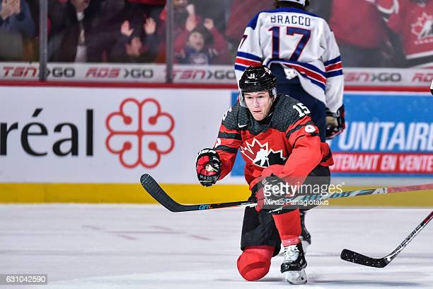 Jeremy Lauzon of Team Canada celebrates his first period goal during the 2017 IIHF World Junior Championship gold medal game against Team United...