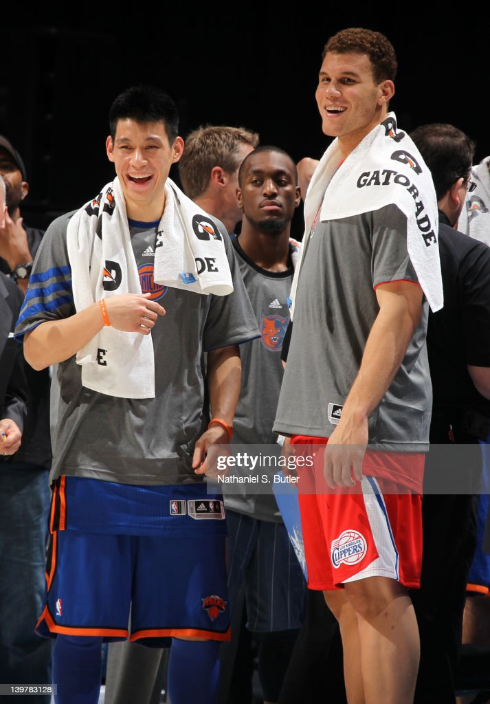 Jeremy Lin and Blake Griffin of Team Shaq during the BBVA Rising Stars Challenge as part of 2012 AllStar Weekend at the Amway Center on February 24...