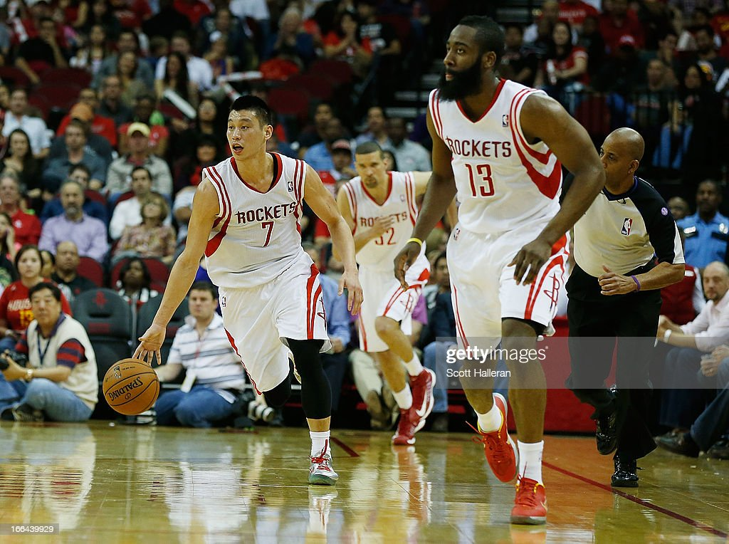 Jeremy Lin #7 and James Harden #13 of the Houston Rockets bring the ball upcourt during the game against the Memphis Grizzlies at the Toyota Center on April 12, 2013 in Houston, Texas.