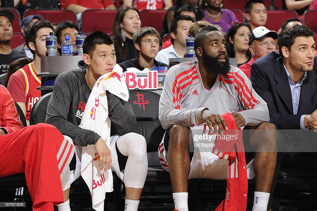 Jeremy Lin #7 and James Harden #13 of the Houston Rockets sit on the bench during the game against Chicago Bulls on November 21, 2012 at the Toyota Center in Houston, Texas.
