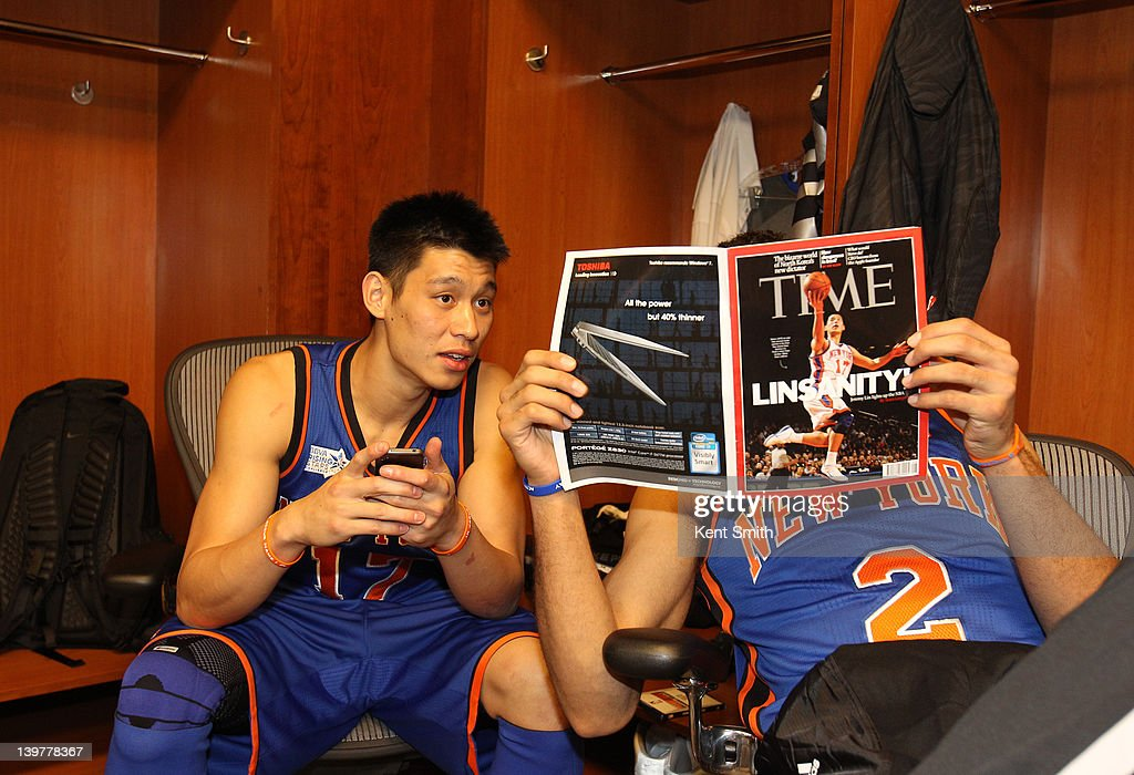 <a gi-track='captionPersonalityLinkClicked' href=/galleries/search?phrase=Jeremy+Lin&family=editorial&specificpeople=6669516 ng-click='$event.stopPropagation()'>Jeremy Lin</a> #17 and <a gi-track='captionPersonalityLinkClicked' href=/galleries/search?phrase=Landry+Fields&family=editorial&specificpeople=4184645 ng-click='$event.stopPropagation()'>Landry Fields</a> #2 of Team Shaq read a magazine before the BBVA Rising Stars Challenge as part of 2012 All-Star Weekend at the Amway Center on February 24, 2012 in Orlando, Florida.