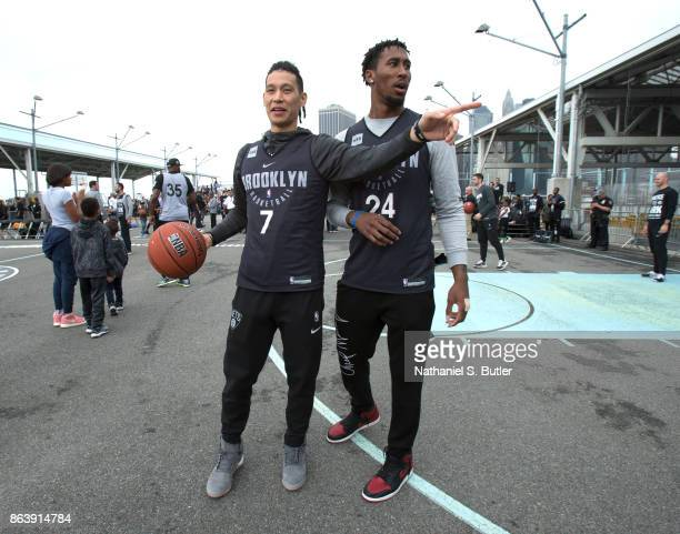 Jeremy Lin and Rondae HollisJefferson of the Brooklyn Nets participate in the Practice in the Park on October 14 2017 at Brooklyn Bridge Park in...