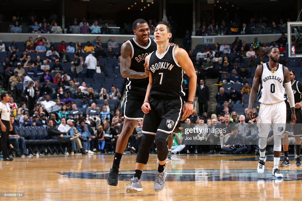 Jeremy Lin #7 and Sean Kilpatrick #6 of the Brooklyn Nets react during the game against the Memphis Grizzlies on March 6, 2017 at FedExForum in Memphis, Tennessee.