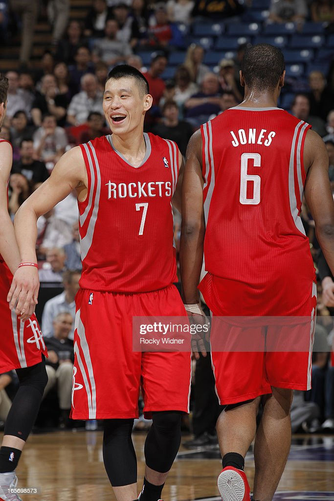 <a gi-track='captionPersonalityLinkClicked' href=/galleries/search?phrase=Jeremy+Lin&family=editorial&specificpeople=6669516 ng-click='$event.stopPropagation()'>Jeremy Lin</a> #7 and Terrence Jones #6 of the Houston Rockets in a game against the Sacramento Kings on April 3, 2013 at Sleep Train Arena in Sacramento, California.