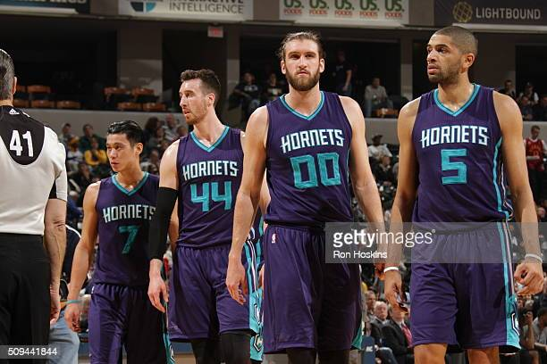 Jeremy Lin Frank Kaminsky III Spencer Hawes and Nicolas Batum of the Charlotte Hornets during the game against the Indiana Pacers on February 10 2016...