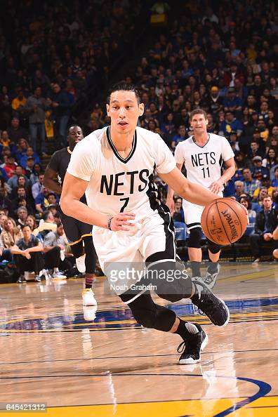 Jeremy Lin of the Brooklyn Nets goes to the basket against the Golden State Warriors on February 25 2017 at ORACLE Arena in Oakland California NOTE...