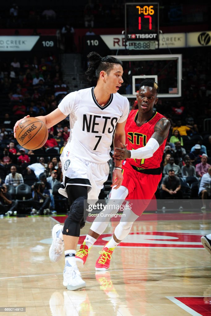 Jeremy Lin #7 of the Brooklyn Nets handles the ball against the Atlanta Hawks on March 26, 2017 at Philips Arena in Atlanta, Georgia.