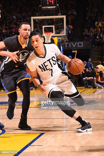 Jeremy Lin of the Brooklyn Nets handles the ball against the Golden State Warriors on February 25 2017 at ORACLE Arena in Oakland California NOTE TO...
