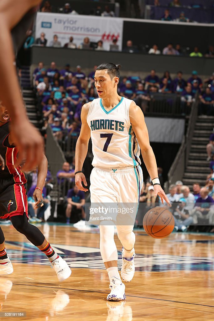 <a gi-track='captionPersonalityLinkClicked' href=/galleries/search?phrase=Jeremy+Lin&family=editorial&specificpeople=6669516 ng-click='$event.stopPropagation()'>Jeremy Lin</a> #7 of the Charlotte Hornets brings the ball up court against the Miami Heat in Game Six of the Eastern Conference Quarterfinals during the 2016 NBA Playoffs on April 29, 2016 at Time Warner Cable Arena in Charlotte, North Carolina.