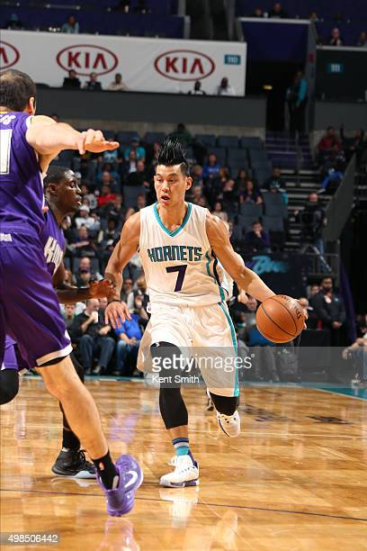 Jeremy Lin of the Charlotte Hornets drives to the basket against the Sacramento Kings during the game on November 23 2015 at Time Warner Cable Arena...