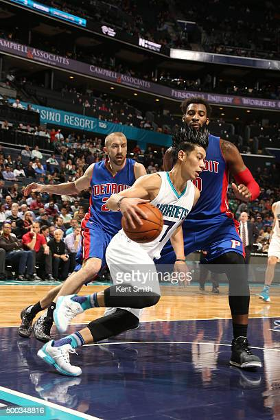 Jeremy Lin of the Charlotte Hornets handles the ball against the Detroit Pistons on December 7 2015 at Time Warner Cable Arena in Charlotte North...