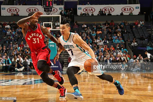 Jeremy Lin of the Charlotte Hornets handles the ball against the Toronto Raptors on December 17 2015 at Time Warner Cable Arena in Charlotte North...