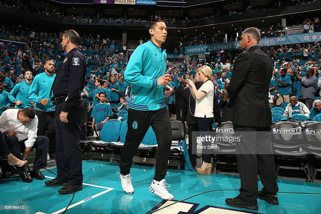 <a gi-track='captionPersonalityLinkClicked' href=/galleries/search?phrase=Jeremy+Lin&family=editorial&specificpeople=6669516 ng-click='$event.stopPropagation()'>Jeremy Lin</a> #7 of the Charlotte Hornets is introduced before the game against the Miami Heat in Game Six of the Eastern Conference Quarterfinals during the 2016 NBA Playoffs on April 29, 2016 at Time Warner Cable Arena in Charlotte, North Carolina.