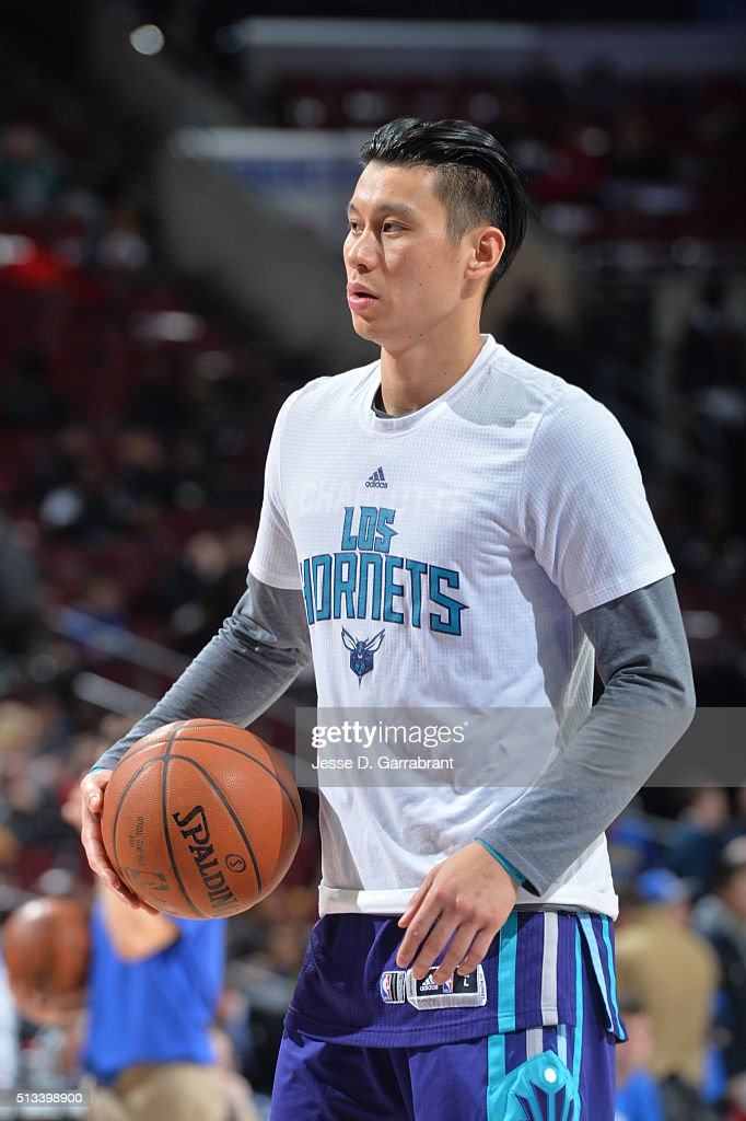 Jeremy Lin #7 of the Charlotte Hornets looks on wearing his Los Hornets tshirt prior to the game against the Philadelphia 76ers at Wells Fargo Center on March 2, 2016 in Philadelphia, Pennsylvania