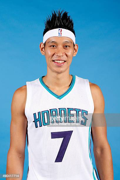 Jeremy Lin of the Charlotte Hornets poses for media day at the Time Warner Cable Arena on February 4 2015 in Charlotte North Carolina NOTE TO USER...