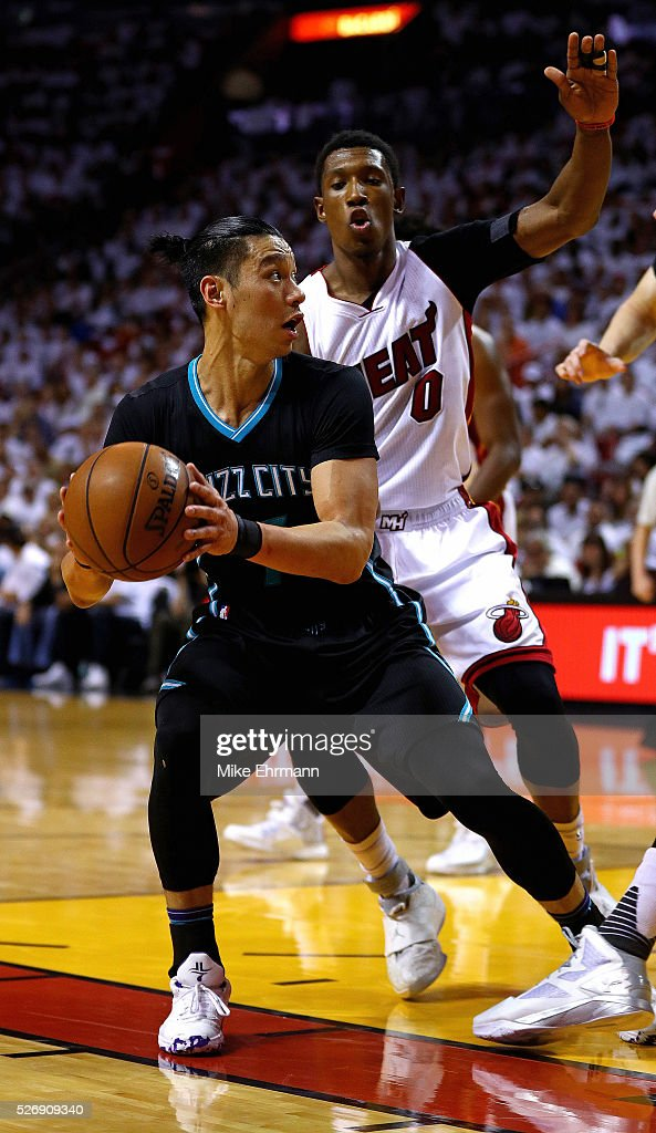 <a gi-track='captionPersonalityLinkClicked' href=/galleries/search?phrase=Jeremy+Lin&family=editorial&specificpeople=6669516 ng-click='$event.stopPropagation()'>Jeremy Lin</a> #7 of the Charlotte Hornets posts up during Game Seven of the Eastern Conference Quarterfinals of the 2016 NBA Playoffs at American Airlines Arena on May 1, 2016 in Miami, Florida.