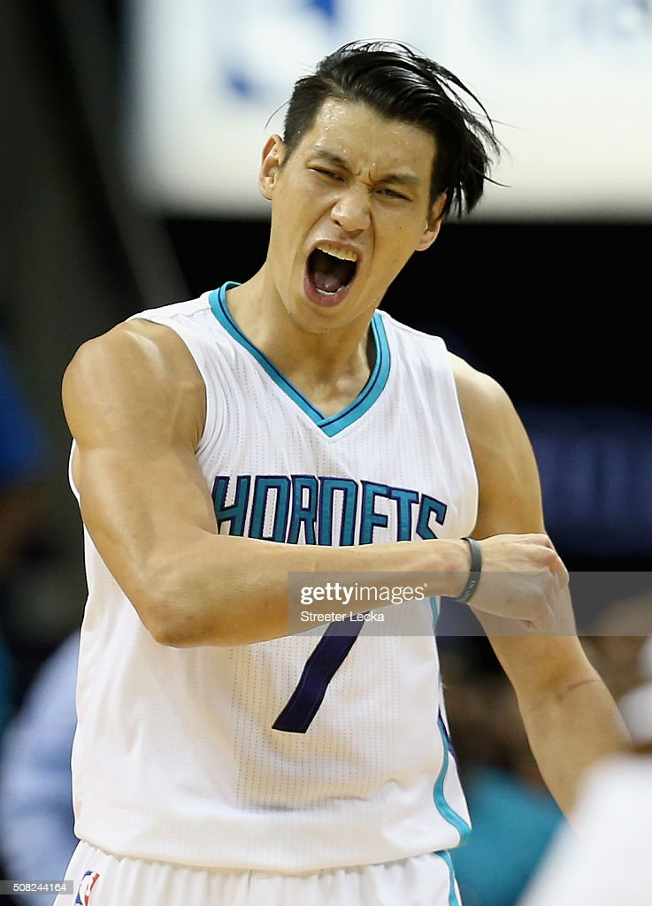 <a gi-track='captionPersonalityLinkClicked' href=/galleries/search?phrase=Jeremy+Lin&family=editorial&specificpeople=6669516 ng-click='$event.stopPropagation()'>Jeremy Lin</a> #7 of the Charlotte Hornets reacts after a basket during their game against the Cleveland Cavaliers at Time Warner Cable Arena on February 3, 2016 in Charlotte, North Carolina.