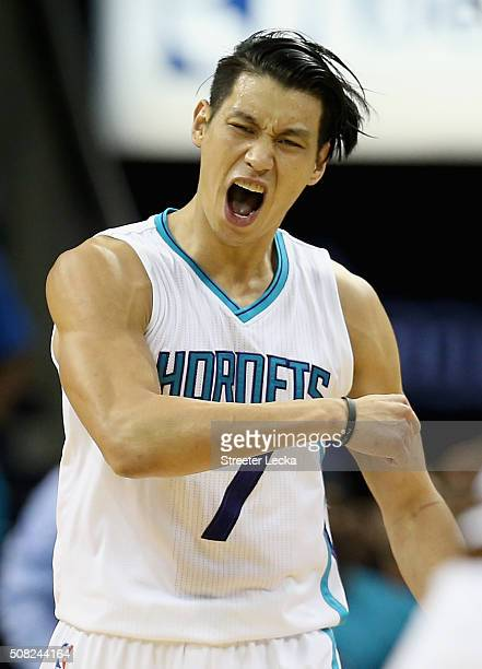 Jeremy Lin of the Charlotte Hornets reacts after a basket during their game against the Cleveland Cavaliers at Time Warner Cable Arena on February 3...