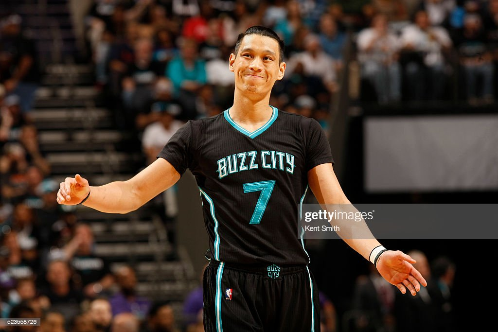 Jeremy Lin #7 of the Charlotte Hornets reacts after a play against the Miami Heat during Game Three of the Eastern Conference Quarterfinals during the 2016 NBA Playoffs on April 23, 2016 at Time Warner Cable Arena in Charlotte, North Carolina.