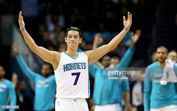 Jeremy Lin of the Charlotte Hornets reacts after making a basket against the San Antonio Spurs during their game at Time Warner Cable Arena on March...