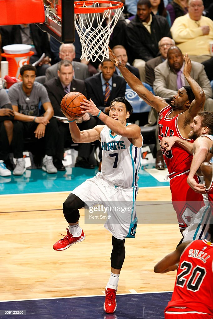 <a gi-track='captionPersonalityLinkClicked' href=/galleries/search?phrase=Jeremy+Lin&family=editorial&specificpeople=6669516 ng-click='$event.stopPropagation()'>Jeremy Lin</a> #7 of the Charlotte Hornets shoots against the Chicago Bulls during the game at the Time Warner Cable Arena on February 06, 2016 in Charlotte, North Carolina.