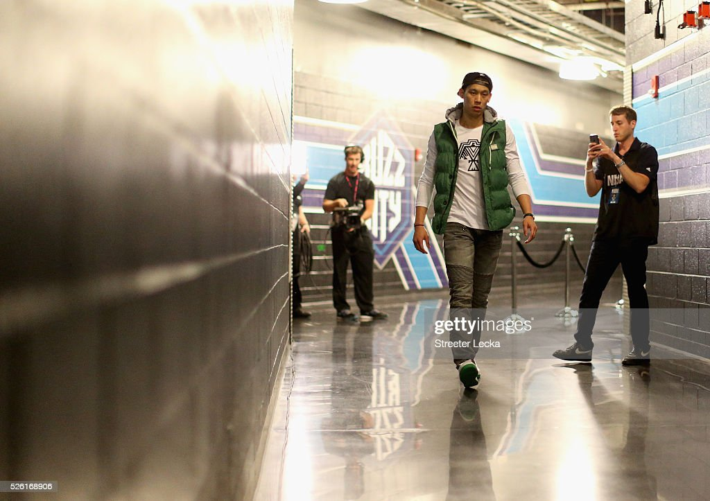 <a gi-track='captionPersonalityLinkClicked' href=/galleries/search?phrase=Jeremy+Lin&family=editorial&specificpeople=6669516 ng-click='$event.stopPropagation()'>Jeremy Lin</a> #7 of the Charlotte Hornets walks to the locker room prior to the start of their game against the Miami Heat in game six of the Eastern Conference Quarterfinals of the 2016 NBA Playoffs at Time Warner Cable Arena on April 29, 2016 in Charlotte, North Carolina.