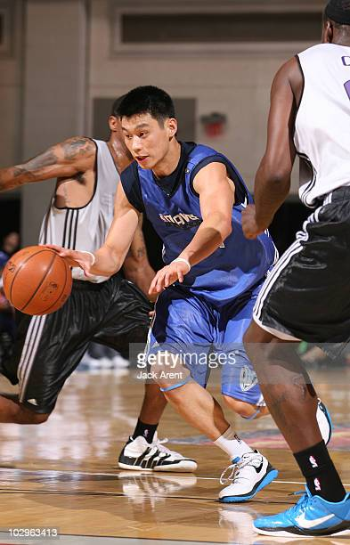 Jeremy Lin of the Dallas Mavericks dribbles the ball against the Sacramento Kings during the NBA Summer League on July 18 2010 at Cox Pavilion in Las...