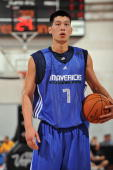 Jeremy Lin of the Dallas Mavericks gets ready to shoot a free throw against the Houston Rockets during NBA Summer League on July 10 2010 at Cox...