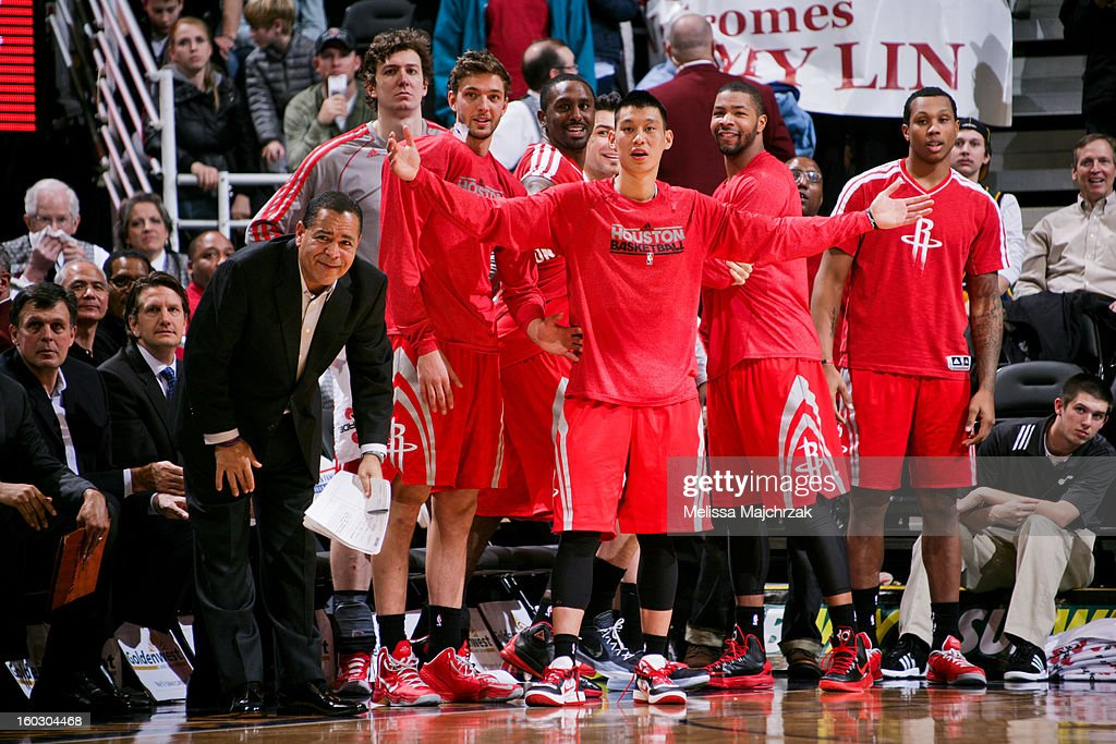 <a gi-track='captionPersonalityLinkClicked' href=/galleries/search?phrase=Jeremy+Lin&family=editorial&specificpeople=6669516 ng-click='$event.stopPropagation()'>Jeremy Lin</a> #7 of the Houston Rockets and his teammates look on from the sideline in the last few seconds of their 45-point victory against the Utah Jazz at Energy Solutions Arena on January 28, 2013 in Salt Lake City, Utah.