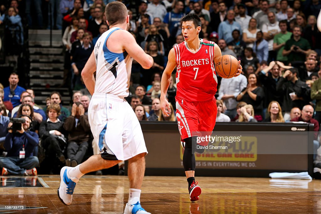Jeremy Lin #7 of the Houston Rockets brings the ball up court against the Minnesota Timberwolves on December 26, 2012 at Target Center in Minneapolis, Minnesota.