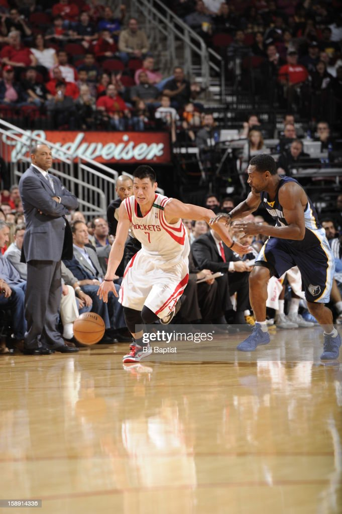 <a gi-track='captionPersonalityLinkClicked' href=/galleries/search?phrase=Jeremy+Lin&family=editorial&specificpeople=6669516 ng-click='$event.stopPropagation()'>Jeremy Lin</a> #7 of the Houston Rockets brings the ball up court against the Memphis Grizzlies on December 22, 2012 at the Toyota Center in Houston, Texas.