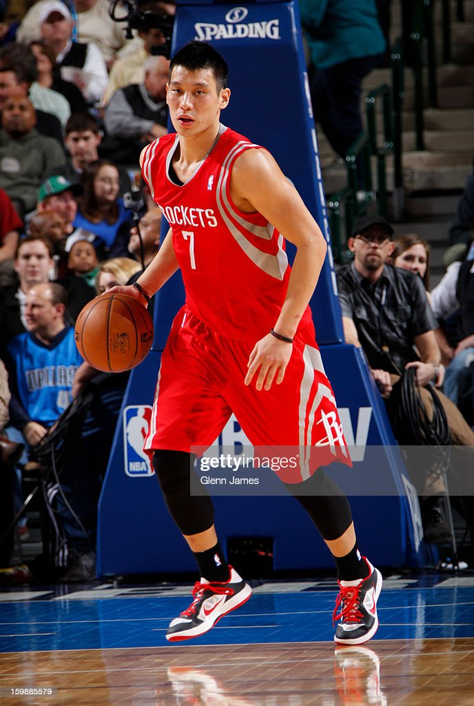 Jeremy Lin #7 of the Houston Rockets brings the ball up court against the Dallas Mavericks on January 16, 2013 at the American Airlines Center in Dallas, Texas.