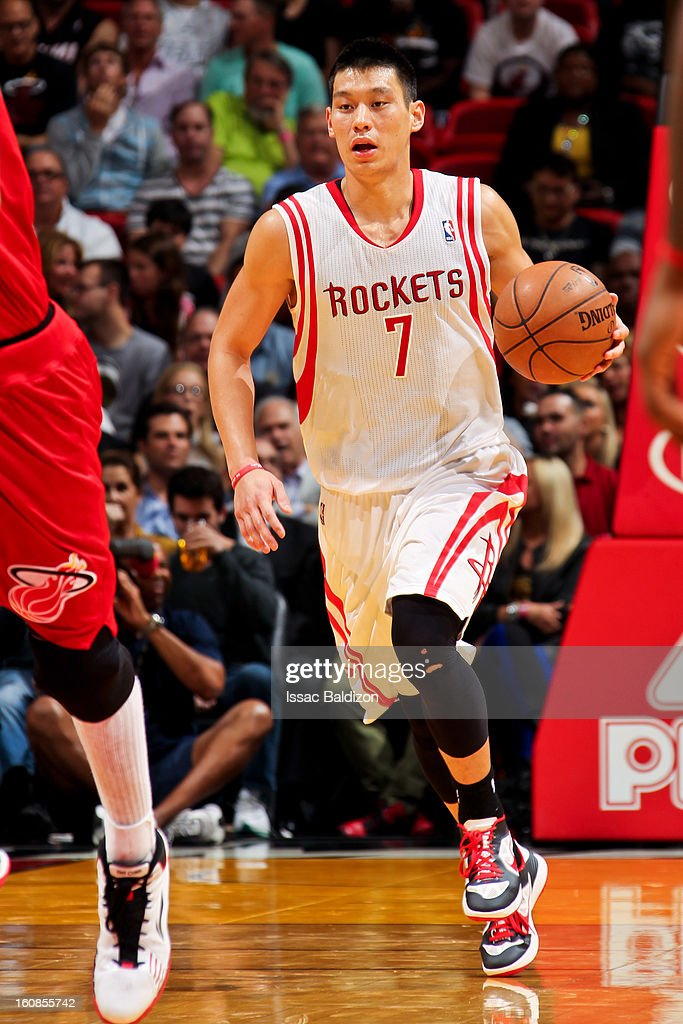 Jeremy Lin #7 of the Houston Rockets brings the ball up court against the Miami Heat on February 6, 2013 at American Airlines Arena in Miami, Florida.