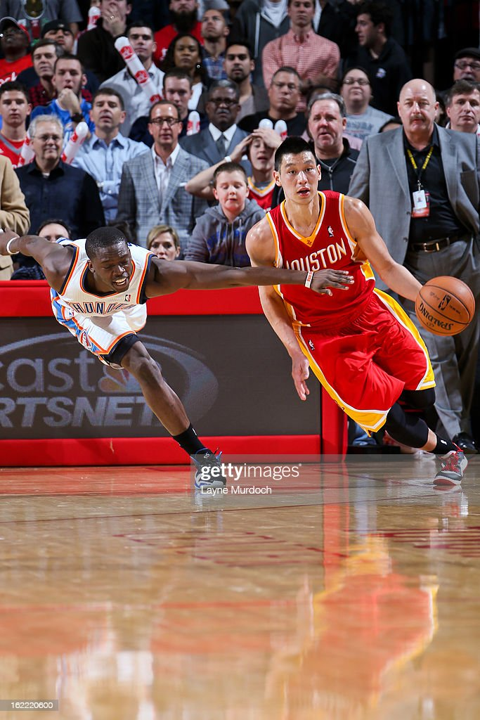 Jeremy Lin #7 of the Houston Rockets brings the ball up court against Reggie Jackson #15 of the Oklahoma City Thunder on February 20, 2013 at the Toyota Center in Houston, Texas.