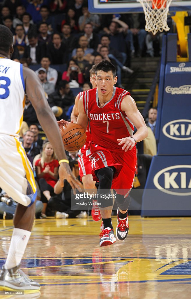 <a gi-track='captionPersonalityLinkClicked' href=/galleries/search?phrase=Jeremy+Lin&family=editorial&specificpeople=6669516 ng-click='$event.stopPropagation()'>Jeremy Lin</a> #7 of the Houston Rockets brings the ball up the court against the Golden State Warriors on February 12, 2013 at Oracle Arena in Oakland, California.