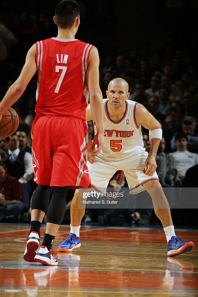 Jeremy Lin #7 of the Houston Rockets brings the ball up the court while Jason Kidd #5 of the New York Knicks defends him on December 17, 2012 at Madison Square Garden in New York City.