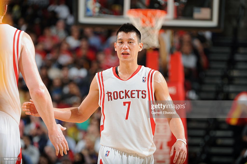 Jeremy Lin #7 of the Houston Rockets celebrates against the Los Angeles Lakers on January 8, 2013 at the Toyota Center in Houston, Texas.