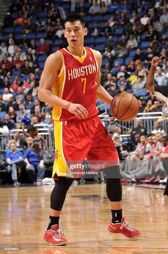 Jeremy Lin #7 of the Houston Rockets dribbles the ball while looking to drive against the Orlando Magic during the game on March 1, 2013 at Amway Center in Orlando, Florida.