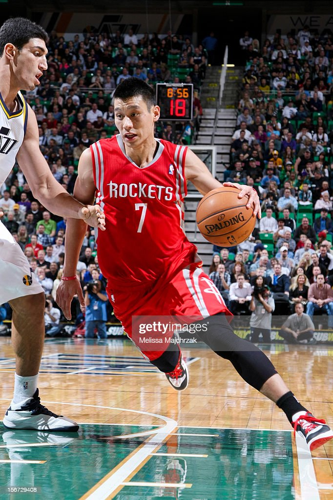 <a gi-track='captionPersonalityLinkClicked' href=/galleries/search?phrase=Jeremy+Lin&family=editorial&specificpeople=6669516 ng-click='$event.stopPropagation()'>Jeremy Lin</a> #7 of the Houston Rockets drives against <a gi-track='captionPersonalityLinkClicked' href=/galleries/search?phrase=Enes+Kanter&family=editorial&specificpeople=5621416 ng-click='$event.stopPropagation()'>Enes Kanter</a> #0 of the Utah Jazz at Energy Solutions Arena on November 19, 2012 in Salt Lake City, Utah.