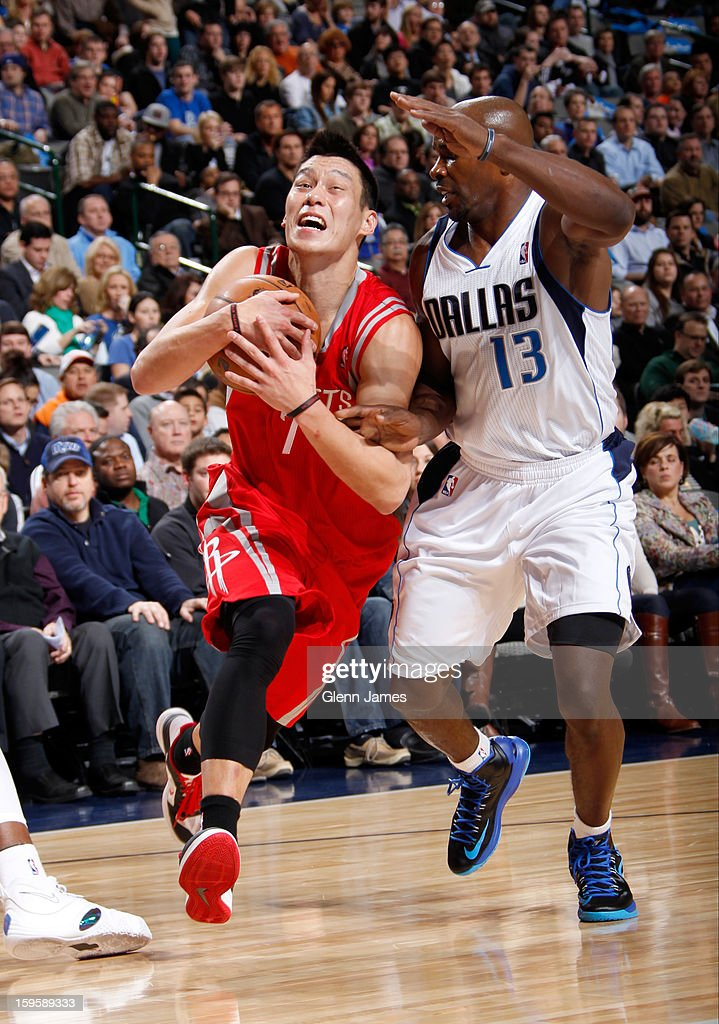 Jeremy Lin #7 of the Houston Rockets drives against Mike James #13 of the Dallas Mavericks on January 16, 2013 at the American Airlines Center in Dallas, Texas.