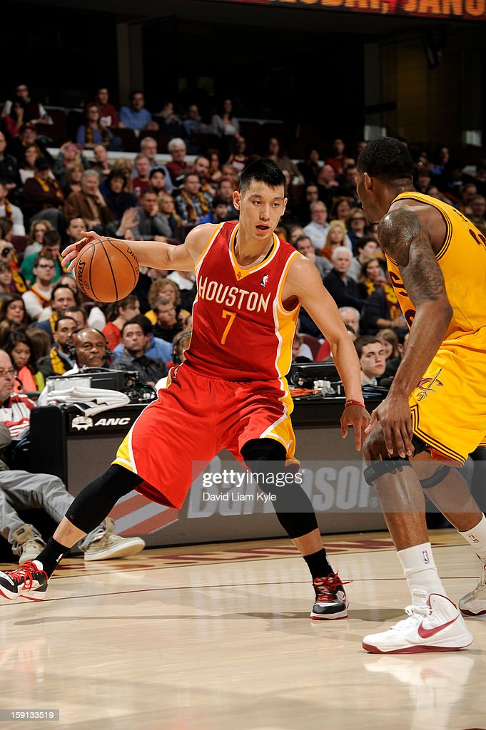 Jeremy Lin #7 of the Houston Rockets drives against the Cleveland Cavaliers at The Quicken Loans Arena on January 5, 2013 in Cleveland, Ohio.