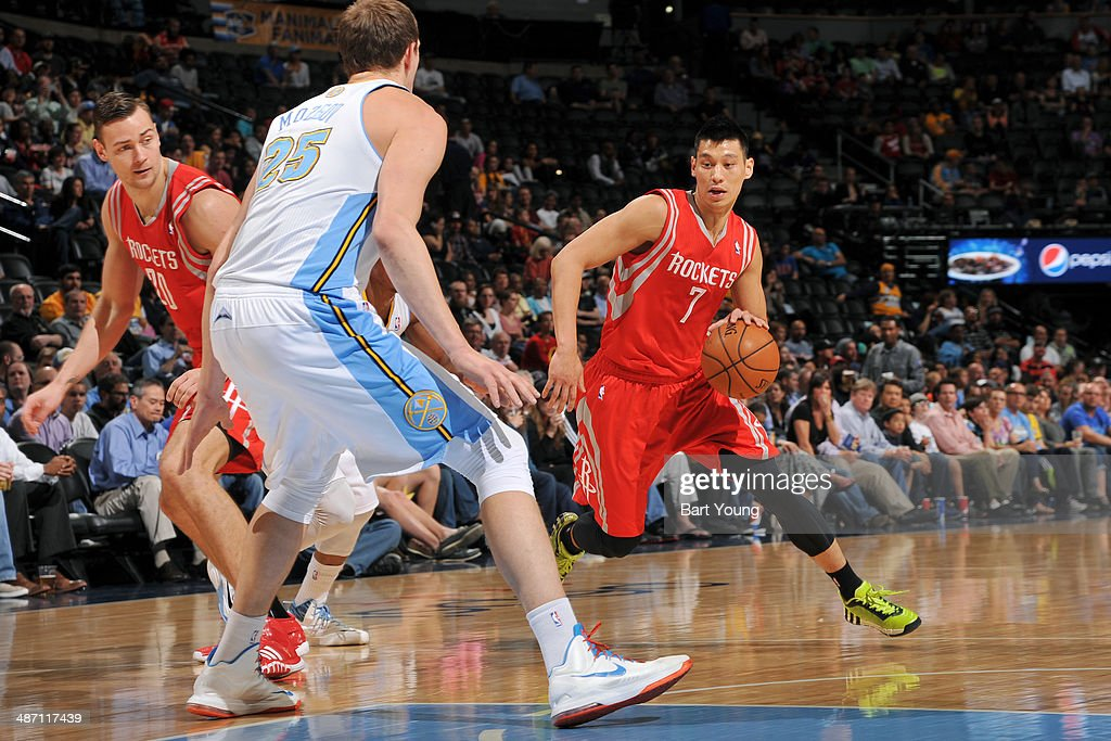 Jeremy Lin #7 of the Houston Rockets drives against the Denver Nuggets on April 9, 2014 at the Pepsi Center in Denver, Colorado.