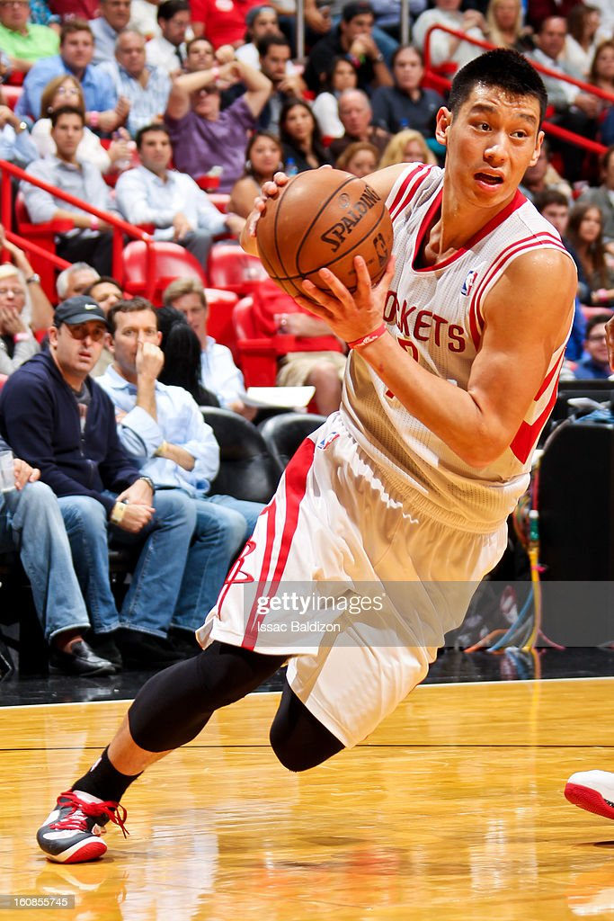 Jeremy Lin #7 of the Houston Rockets drives against the Miami Heat on February 6, 2013 at American Airlines Arena in Miami, Florida.