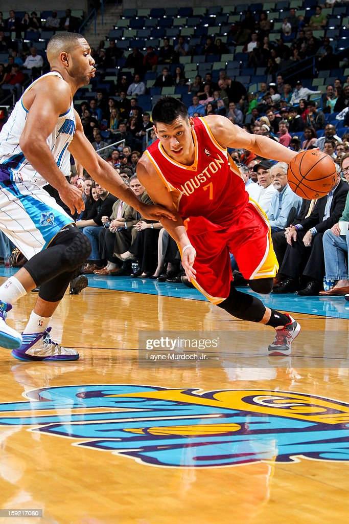 <a gi-track='captionPersonalityLinkClicked' href=/galleries/search?phrase=Jeremy+Lin&family=editorial&specificpeople=6669516 ng-click='$event.stopPropagation()'>Jeremy Lin</a> #7 of the Houston Rockets drives against the New Orleans Hornets on January 9, 2013 at the New Orleans Arena in New Orleans, Louisiana.