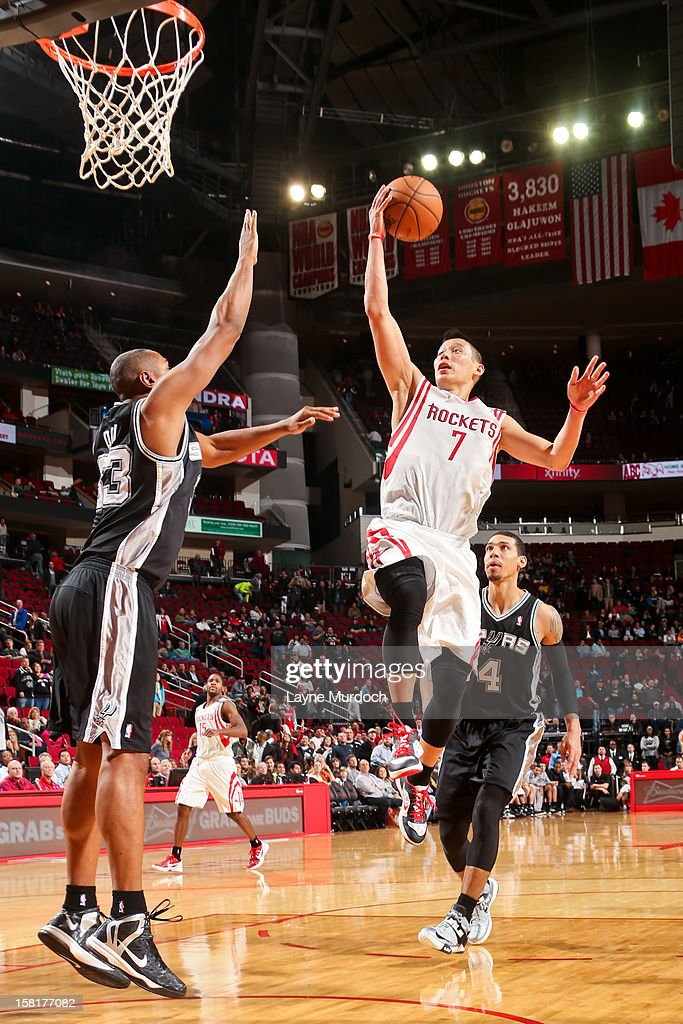 <a gi-track='captionPersonalityLinkClicked' href=/galleries/search?phrase=Jeremy+Lin&family=editorial&specificpeople=6669516 ng-click='$event.stopPropagation()'>Jeremy Lin</a> #7 of the Houston Rockets drives to the basket against <a gi-track='captionPersonalityLinkClicked' href=/galleries/search?phrase=Boris+Diaw&family=editorial&specificpeople=201505 ng-click='$event.stopPropagation()'>Boris Diaw</a> #33 of the San Antonio Spurs on December 10, 2012 at the Toyota Center in Houston, Texas.